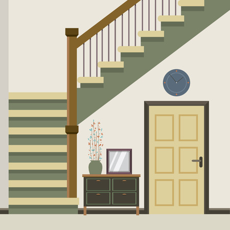 house illustration: Hallway Decoration Vector Illustration Illustration