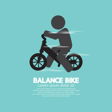 infant baby: Balance Bike Black Symbol Vector Illustration Illustration