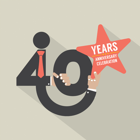 40: 40 Years Anniversary Typography Design Vector Illustration