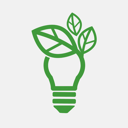 eco power: Green Concept Light Bulb Vector Illustration