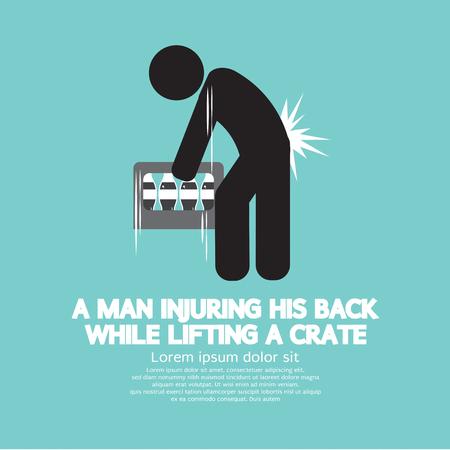 Man Injuring His Back Symbol Vector Illustration Illustration