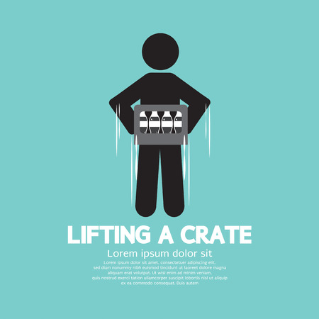 lift and carry: Man Lifting A Crate Symbol Vector Illustration