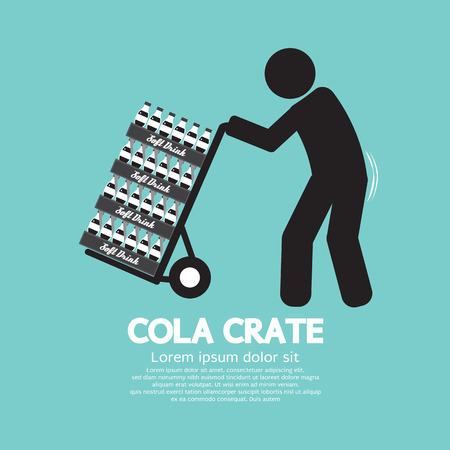 moving crate: Cola Crate On Trolley Symbol Vector Illustration