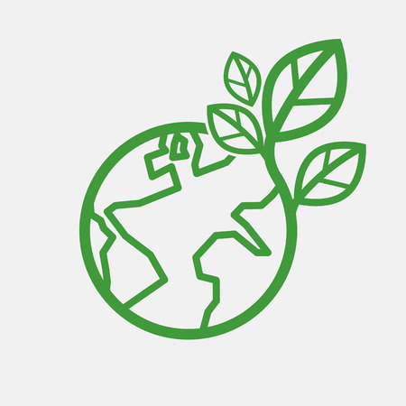 conservation: Earth With Green Leaves Saving Energy Concept Vector Illustration