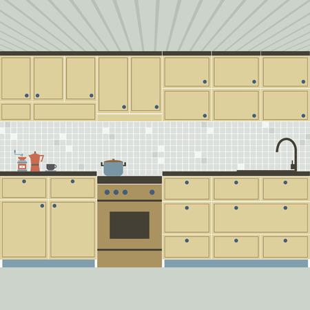 modern kitchen: Modern Flat Design Kitchen Interior Vector Illustration