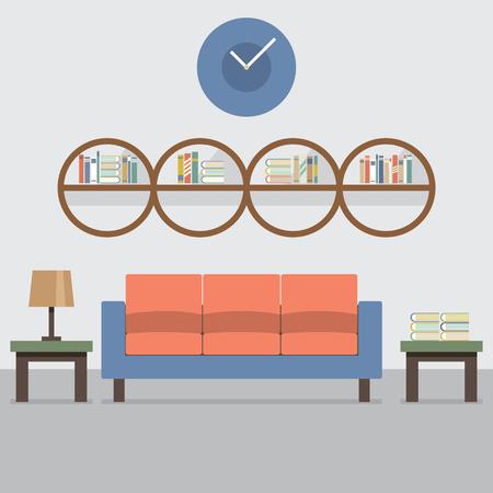 sentarse: Sofá Con La Ilustración moderna Biblioteca del vector