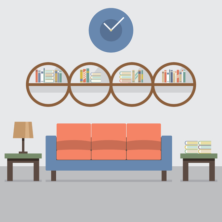 sit: Sofa With Modern Bookcase Vector Illustration