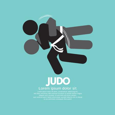 judo: Black Symbol Judo Fighter Vector Illustration Illustration
