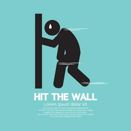 run out: Hit the Wall, Run Out of Energy Runner Vector Illustration