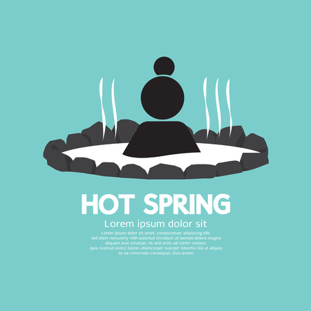 Hot spring Black Symbol Vector Illustration