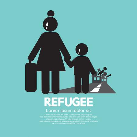 exile: Refugees Evacuee Symbol Vector Illustration