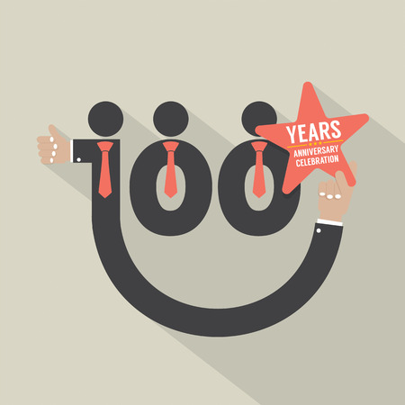 hundred: 100 Years Anniversary Typography Design Vector Illustration