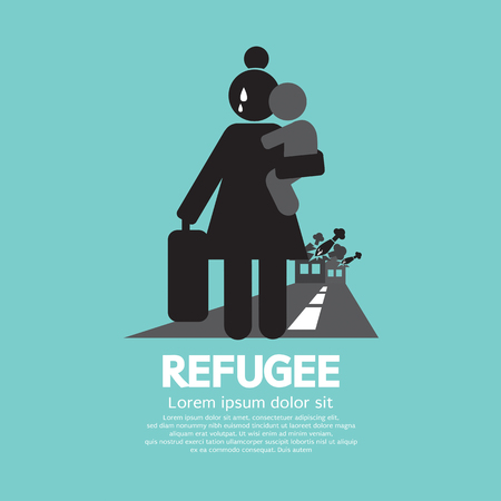 starving: Refugees Evacuee Symbol Vector Illustration