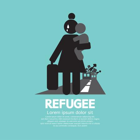bombing: Refugees Evacuee Symbol Vector Illustration