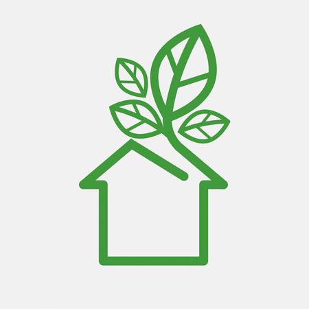 House With Green Leaves Ecology Concept Vector Illustration Ilustração