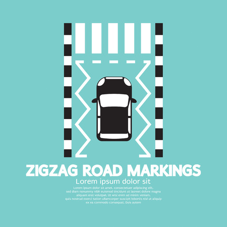 parking is prohibited: Top View Of Zigzag Road Markings Vector Illustration