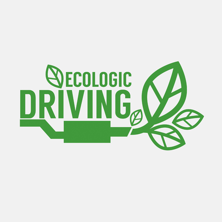 exhaust pipe: Ecologic Driving Green Concept Vector Illustration Illustration