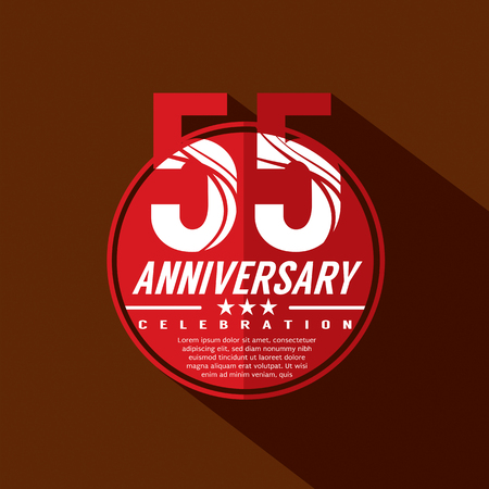50 to 55 years: 55 Years Anniversary Celebration Design Illustration