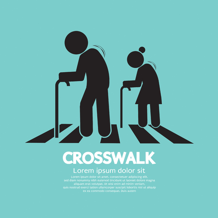 The Elderly On The Crosswalk Symbol Vector Illustration