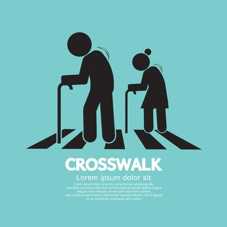 The Elderly On The Crosswalk Symbol Vector Illustration
