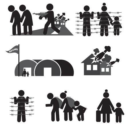 wojenne: Ilustracja zestaw ikon wektorowych Uchodźców
