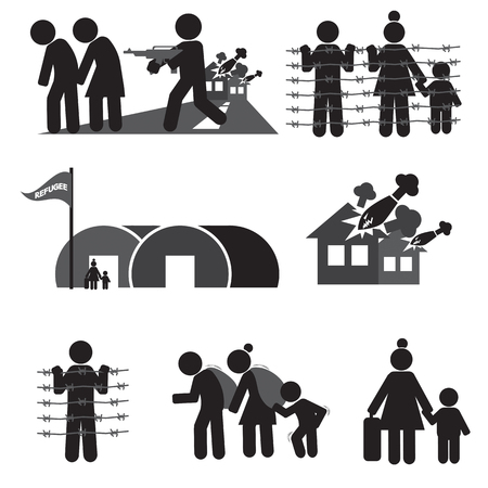 war refugee: Refugee Icon Set Vector Illustration