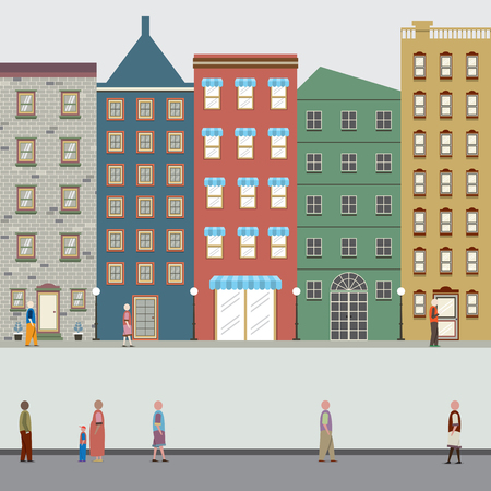 office construction: Buildings In The City Vector Illustration