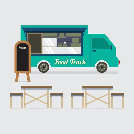 negocios comida: Camión de la comida con la ilustración vectorial Juego de mesa Vectores