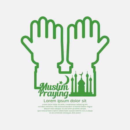 hajj: Muslim Praying Concept Design Vector Illustration