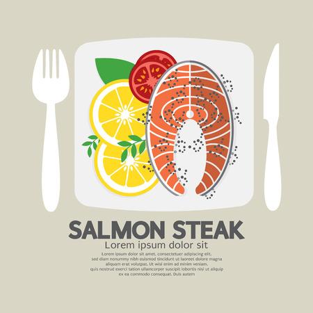 steak plate: Top View Of Salmon Steak Vector Illustration
