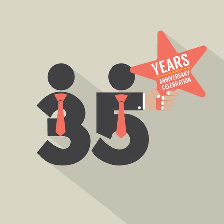 35: 35 Years Anniversary Typography Design Vector Illustration Illustration