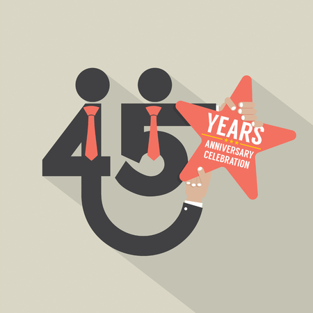 45: 45 Years Anniversary Typography Design Vector Illustration