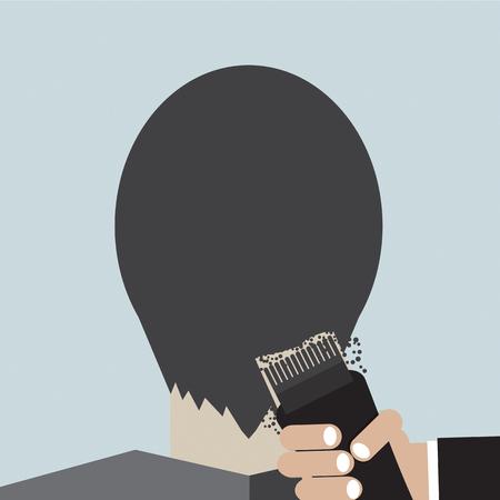 clipper: Hairdresser Using Hair Clipper Vector Illustration