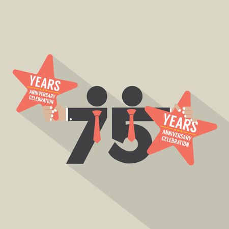 hand sign: 75 Years Anniversary Typography Design Vector Illustration