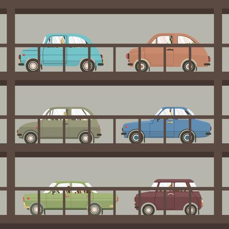Autos In Parkplatz Gebäude Vektor-Illustration Standard-Bild - 48648876
