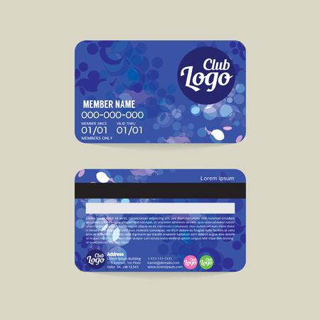 Front und Rückseite Member Card Template Vector Illustration