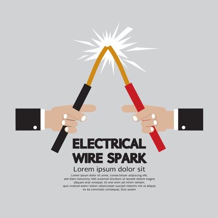 electrical wire: Electrical Wire Spark Vector Illustration