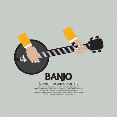 country music: Flat Design Banjo Playing Vector Illustration