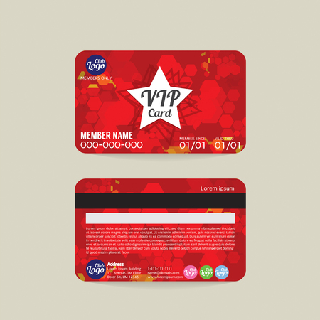 vip design: Front And Back VIP Member Card Template Vector Illustration