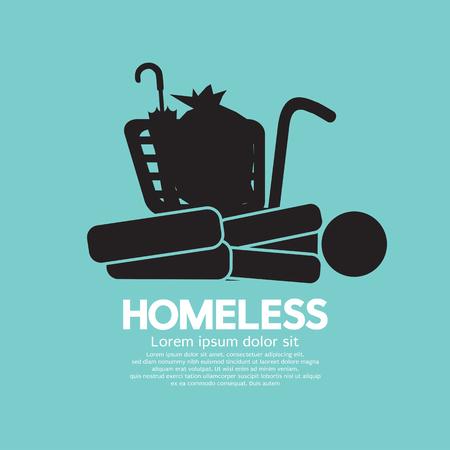 homeless: Black Symbol Graphic Of Homeless Vector Illustration