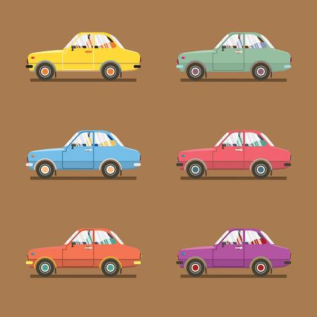 sedan: Side View Of Colorful Sedan Cars Vector Illustration Illustration