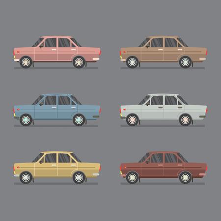sedan: Side View Of Sedan Cars Vector Illustration