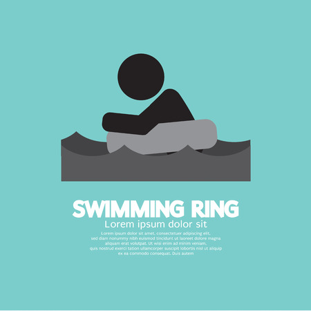float tube: Black Symbol Swimming Ring Vector Illustration