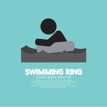 Black Symbol Swimming Ring Vector Illustration