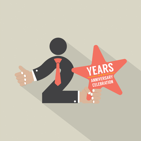2nd: 2nd Years Anniversary Typography Design Vector Illustration