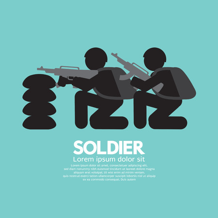 gunfire: Soldiers With Guns And Bunker Vector Illustration