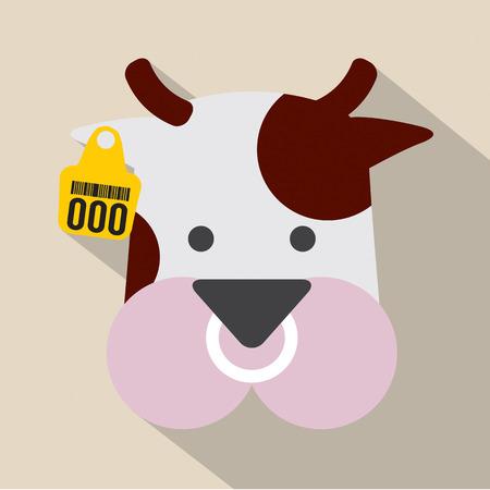 head tag: Cute Cow Head With Ear Tag Vector Illustration Illustration