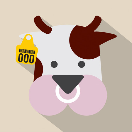 Cute Cow Head With Ear Tag Vector Illustration Illustration