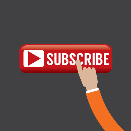 subscribing: Hand On Subscribe Button Vector Illustration