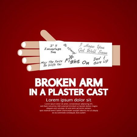 bone fracture: Broken Arm in a Plaster Cast Vector Illustration